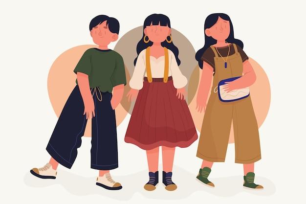 Concepto de jóvenes coreanos de moda