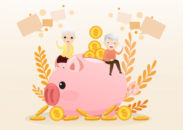 Concepto de jubilación. viejo hombre y mujer con hucha de oro.
