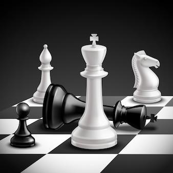Concepto de juego de ajedrez con tablero realista y piezas en blanco y negro.