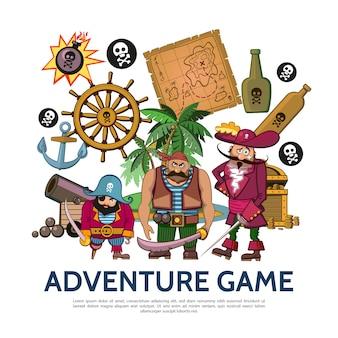 Concepto de juego de aventuras colorido plano