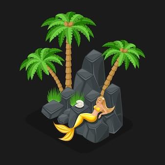 Concepto de juego de una caricatura con un personaje de cuento de hadas, una sirena guarda una perla, una niña, el mar, las islas, las piedras. ilustración
