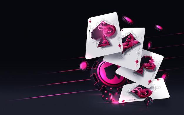 Concepto de juego de cartas de cuatro ases aislado en el fondo negro