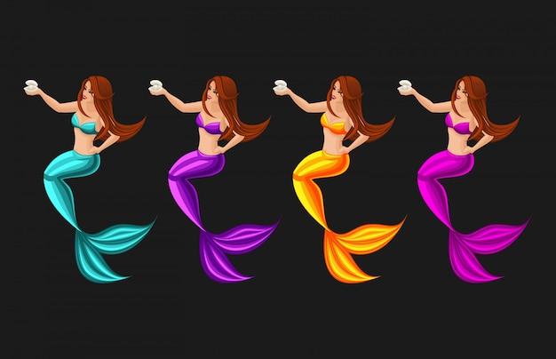 Concepto de juego de dibujos animados con personaje de cuento de hadas, sirena guardias perla, serena, niña, mar, cola