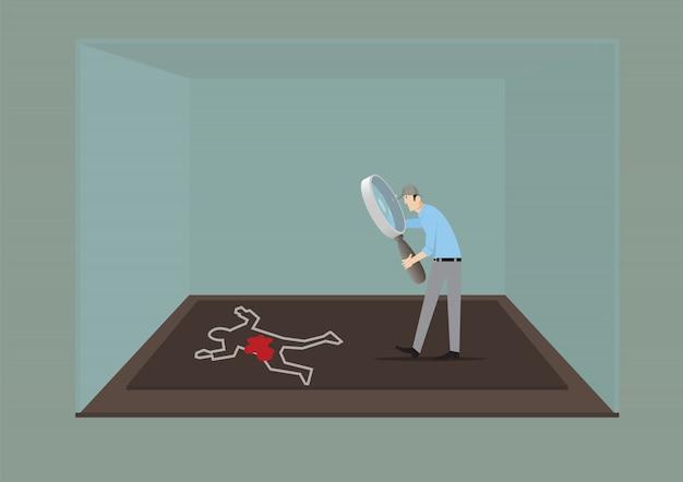 Concepto de juego de escape room. hombre con lupa investigando la escena del crimen.