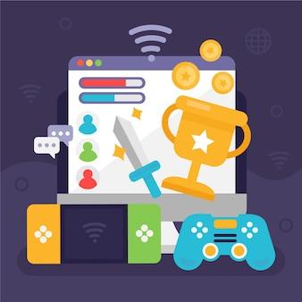 Concepto de juego en línea con diferentes elementos.