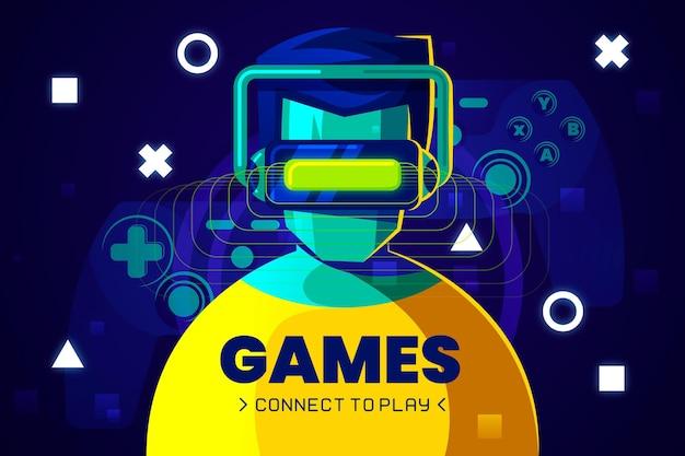 Concepto de juego en línea ilustrado