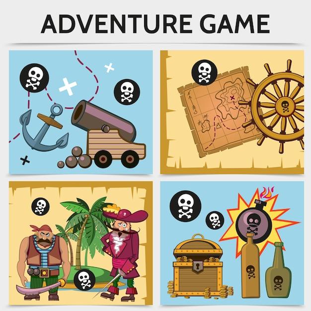 Concepto de juego móvil de dibujos animados