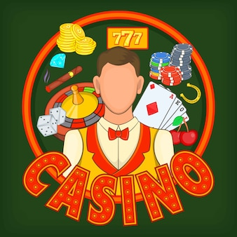 Concepto de juegos de casino, estilo de dibujos animados