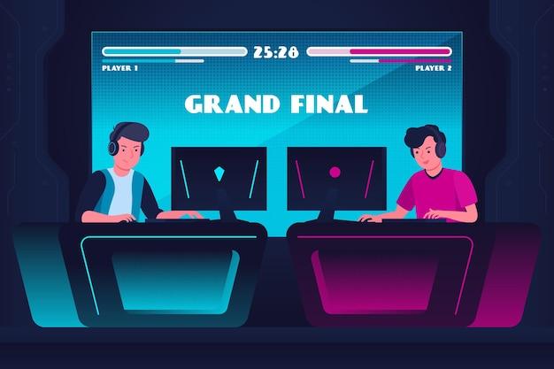 Concepto de juegos en línea con amigos jugando