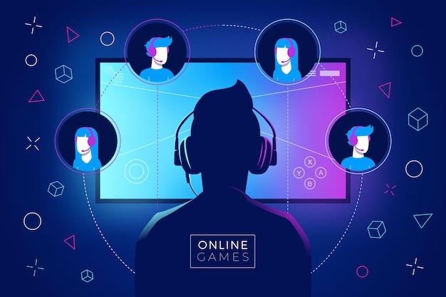 Concepto de juegos en línea con hombre