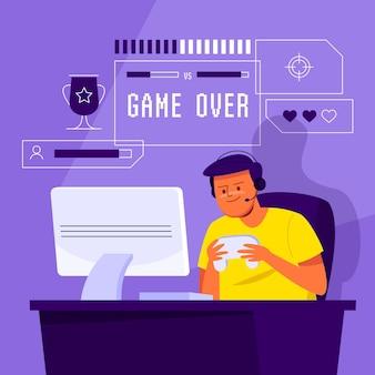 Concepto de juegos en línea ilustrado