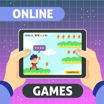 Concepto de juegos en línea con persona jugando en tableta