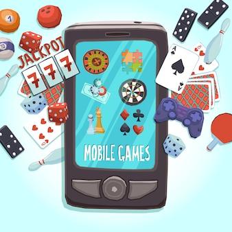 Concepto de juegos de telefonía móvil