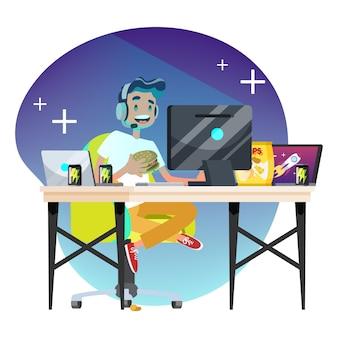 Concepto de jugador de hombre. persona juega en la computadora