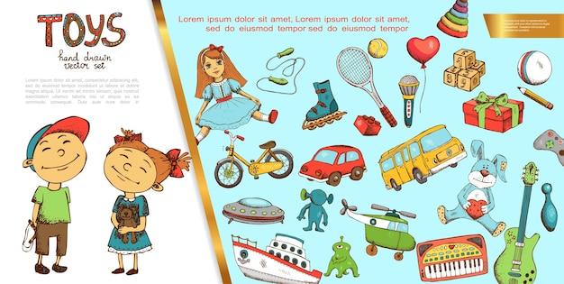 Concepto de juguetes infantiles dibujados a mano