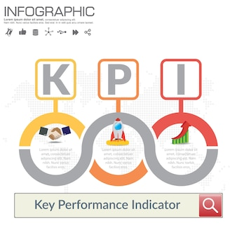 Concepto de kpi de infografía con iconos de marketing.