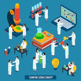 Concepto de laboratorio de ciencia isométrica composición banner