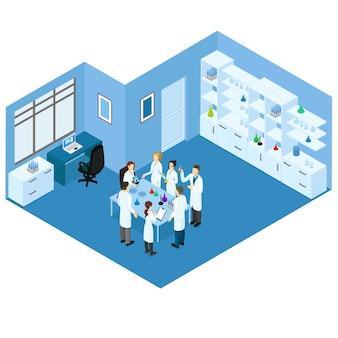 Concepto de laboratorio de ciencia isométrica