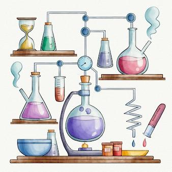 Concepto de laboratorio de ciencias de la acuarela