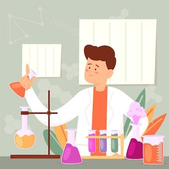 Concepto de laboratorio de ciencias dibujado a mano