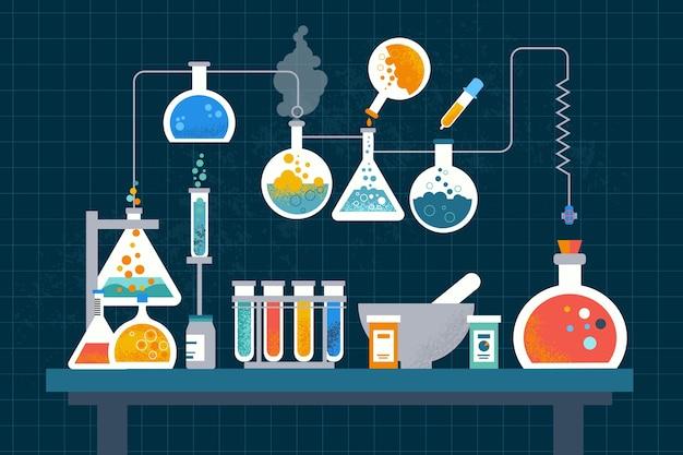 Concepto de laboratorio de ciencias de diseño plano