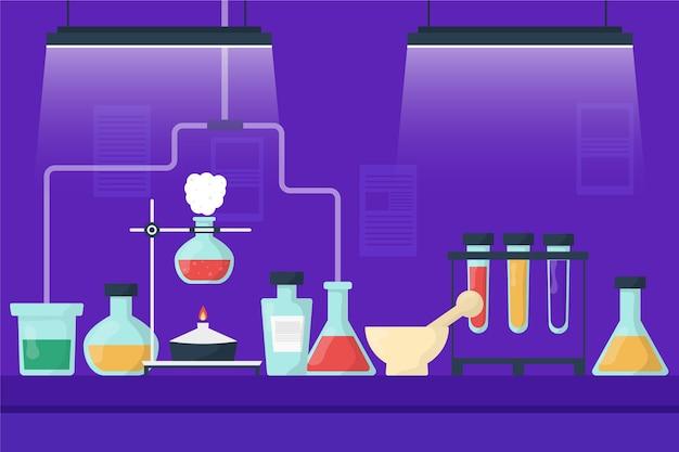 Concepto de laboratorio de ciencias plano