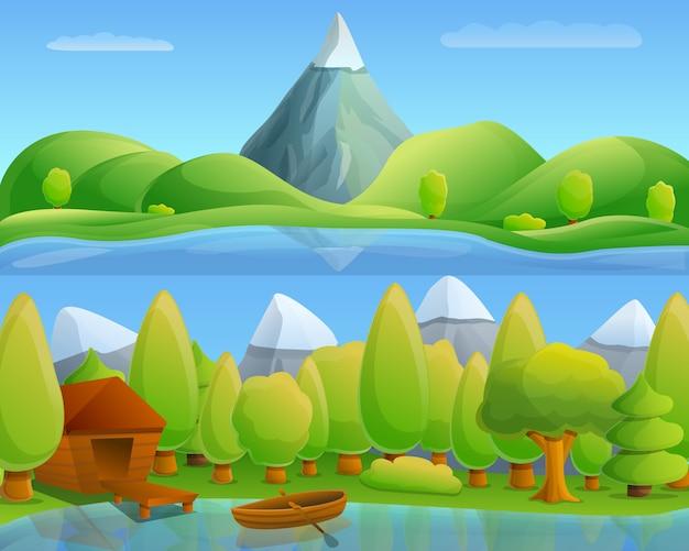 Concepto de lago de montaña, estilo de dibujos animados