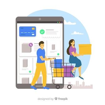 Concepto de landing page de compras online