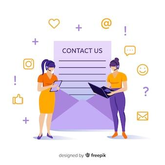 Concepto de landing page de contacto