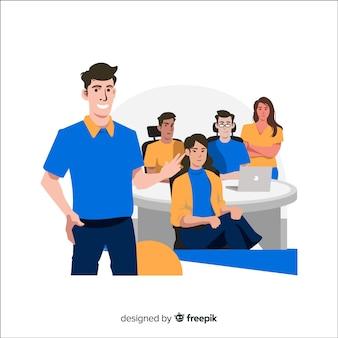 Concepto de landing page de equipo de trabajo