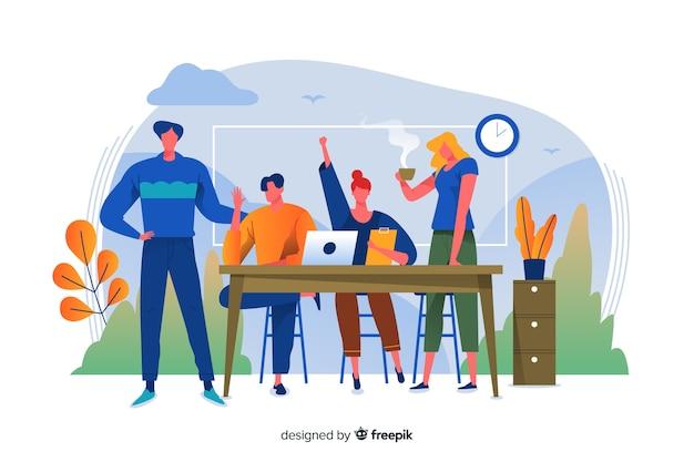 Concepto para landing page de equipo de trabajo