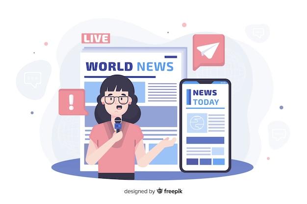 Concepto de landing page de noticias