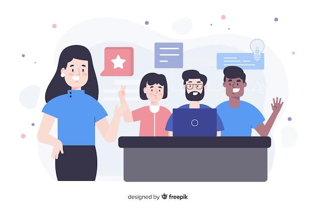 Concepto de landing page de trabajo en equipo