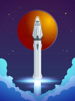 Concepto de lanzamiento de cohete de dibujos animados coloridos