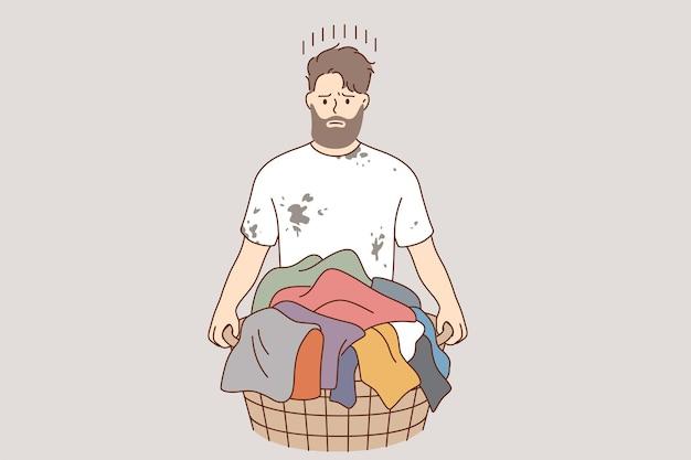 Concepto de lavandería y lavado de ropa