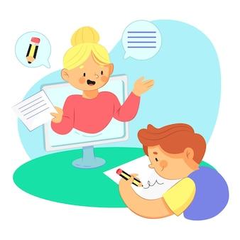 Concepto de lecciones en línea para niños
