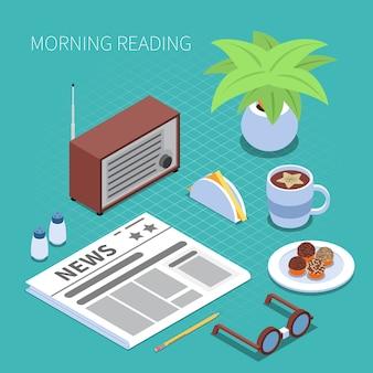 Concepto de lectura y biblioteca con mañana lectura símbolos isométrica aislado