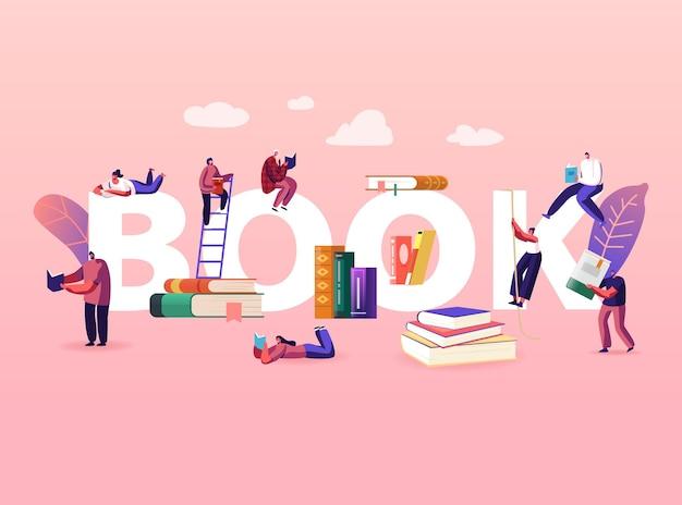 Concepto de lectura y educación. pequeño personaje masculino femenino con libros enormes.