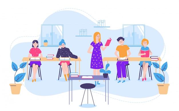 Concepto de lectura y educación de personas con pequeñas mujeres hombres, estudiantes y maestros con libros de texto en la ilustración de la clase.