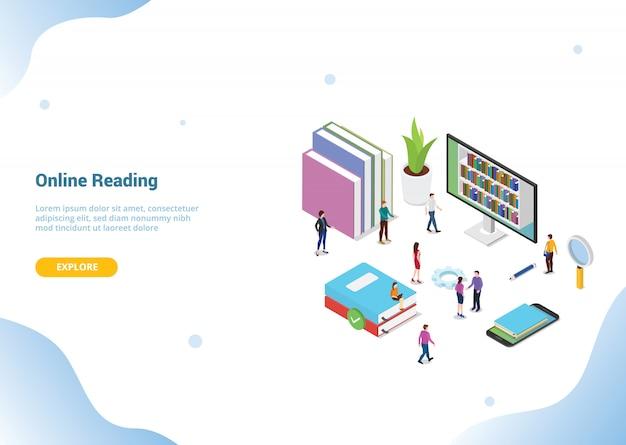 Concepto de lectura en línea isométrica 3d con libros o libros electrónicos para la plantilla de sitio web o página de inicio de aterrizaje