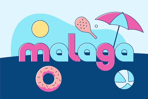 Concepto de letras de la ciudad de málaga