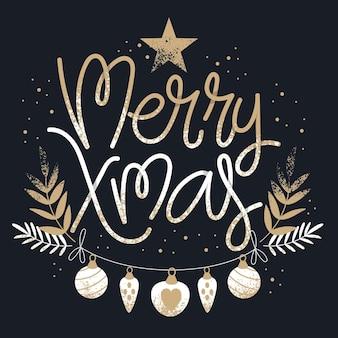 Concepto de letras feliz navidad