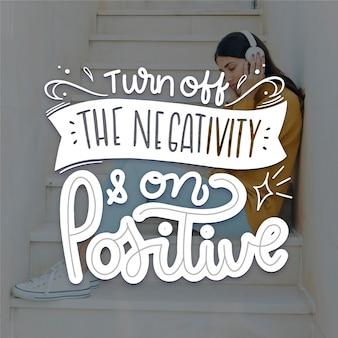Concepto de letras de mente positiva