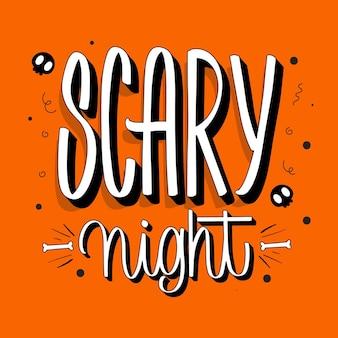 Concepto de letras de noche de miedo