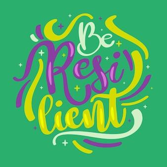 Concepto de letras de resiliencia