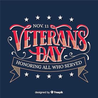 Concepto de letras vintage para el día de los veteranos