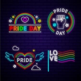 Concepto de letreros de neón del día del orgullo