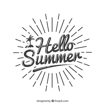 Concepto de lettering de verano con rayos de sol