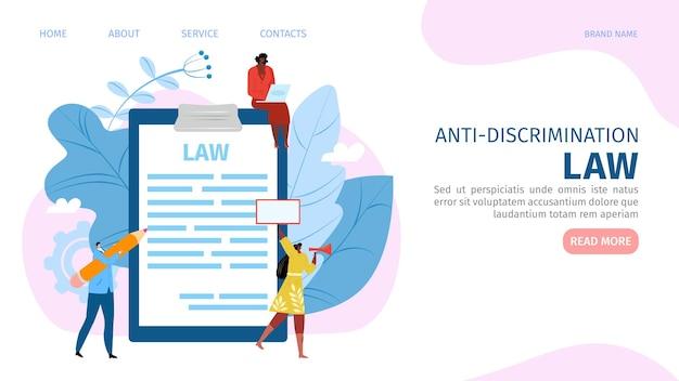 Concepto de ley contra la discriminación, sitio web de protesta hombre mujer