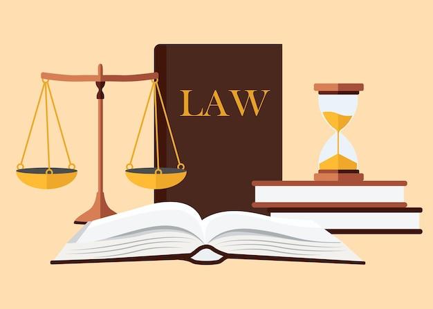Concepto de ley y justicia. en estilo plano.